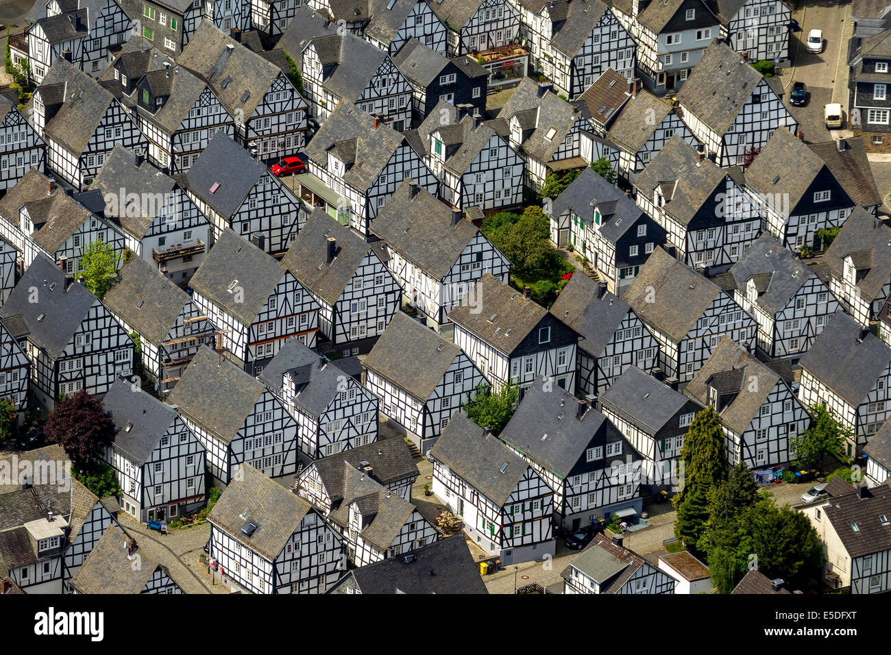 Aerial view, half-timbered houses, age spots, historical city core, Freudenberg, North Rhine-Westphalia, Germany - Stock Image