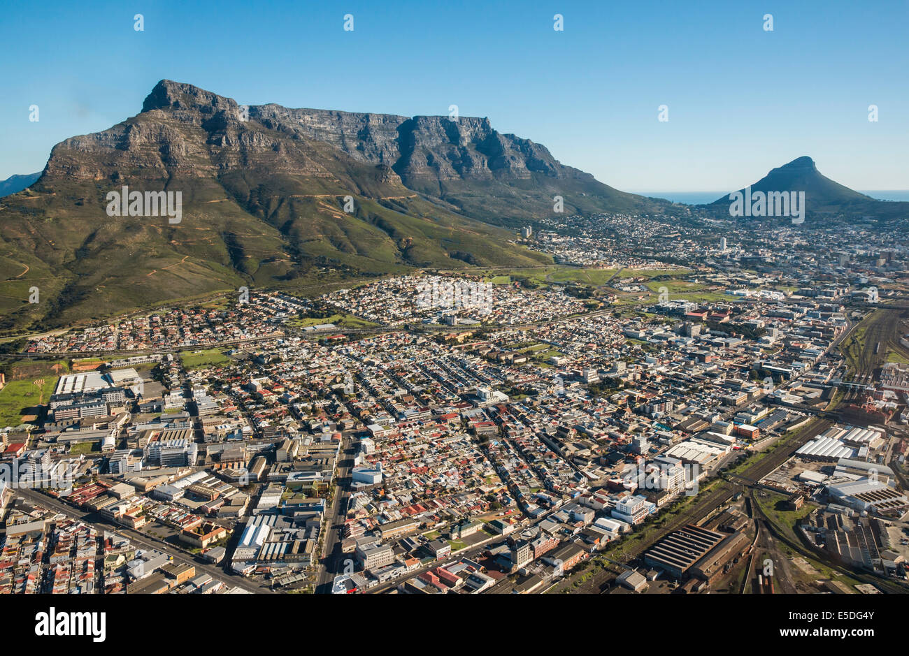 Aerial view, Devil's Peak, Table Mountain and Lion's Head, Cape Town, Western Cape, South Africa - Stock Image