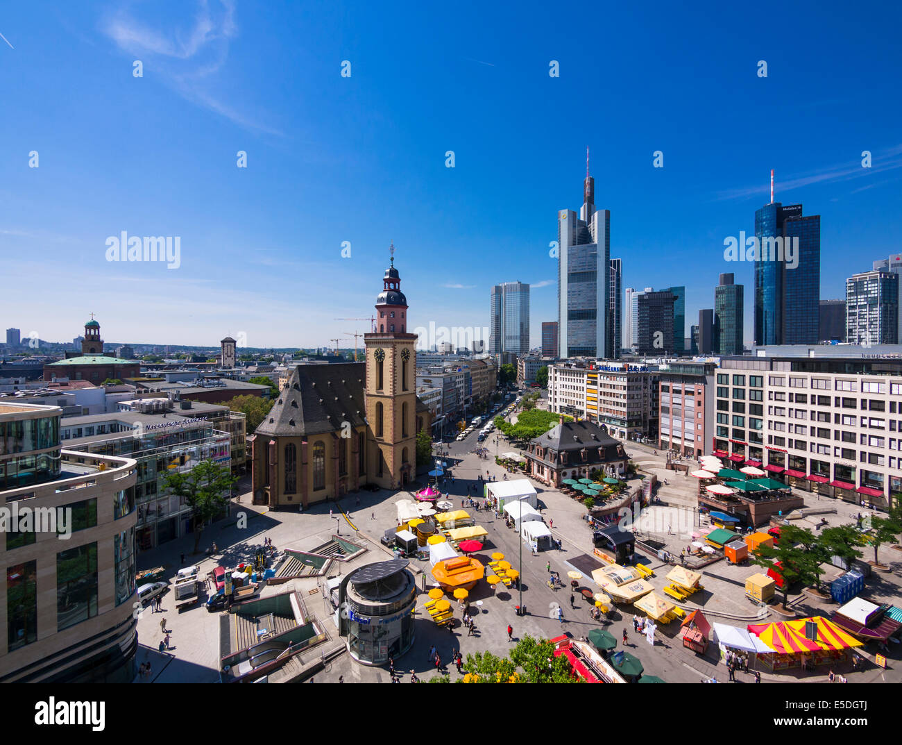 Germany, Hesse, Frankfurt, View to financial district with Commerzbank tower, European Central Bank, Helaba, Taunusturm, Stock Photo