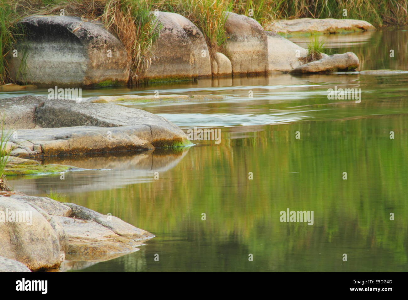 The Llano River, near Junction in the hill country region of Texas. - Stock Image