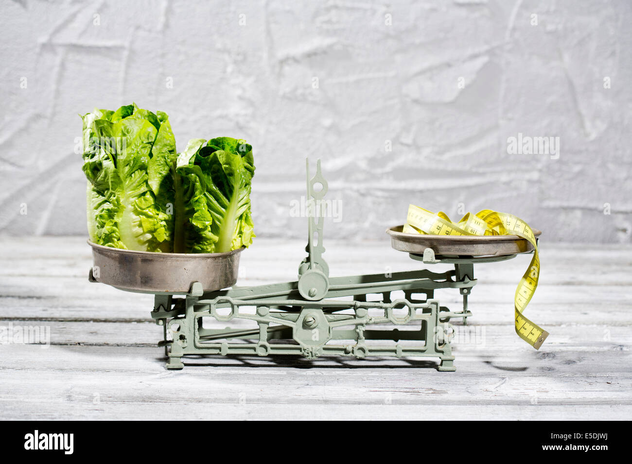 Lettuce and tape measure on scale - Stock Image