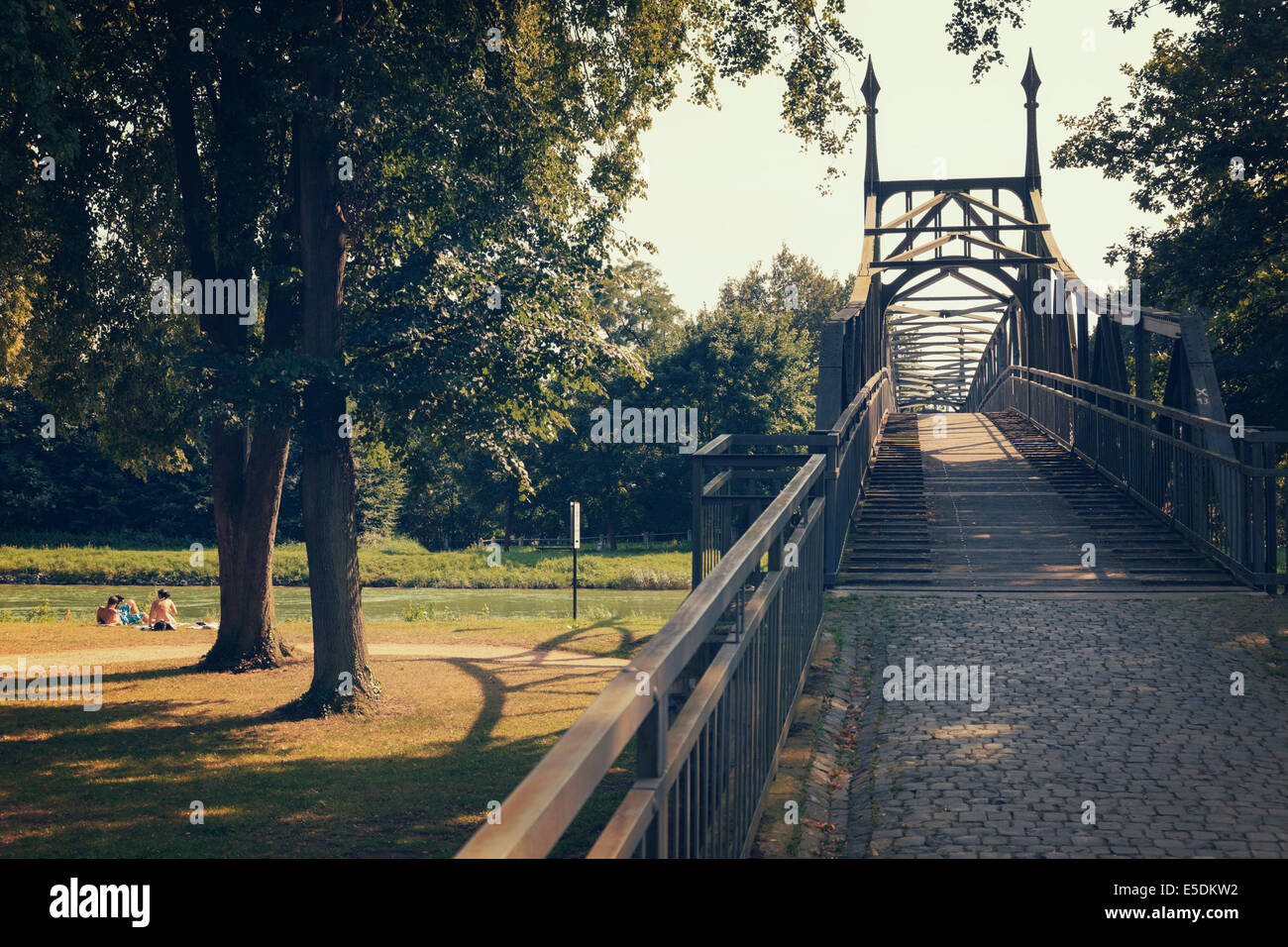 Germany, North Rhine-Westphalia, Hoerstel, bridge over Dortmund-Ems Canal - Stock Image