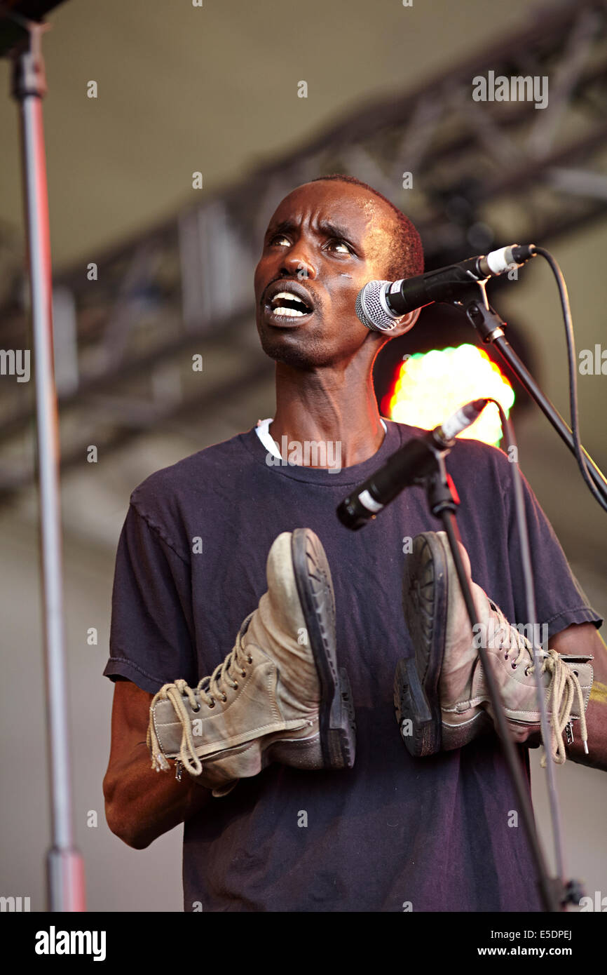 Womad music festival Charlton Park, Wiltshire July 2014. The Good Ones from Rwanda, Africa - Stock Image