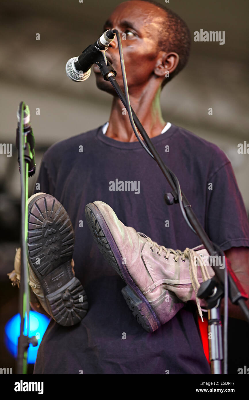 Womad music festival Charlton Park, Wilshire, July 2014. The Good Ones from Rwanda, Africa - Stock Image