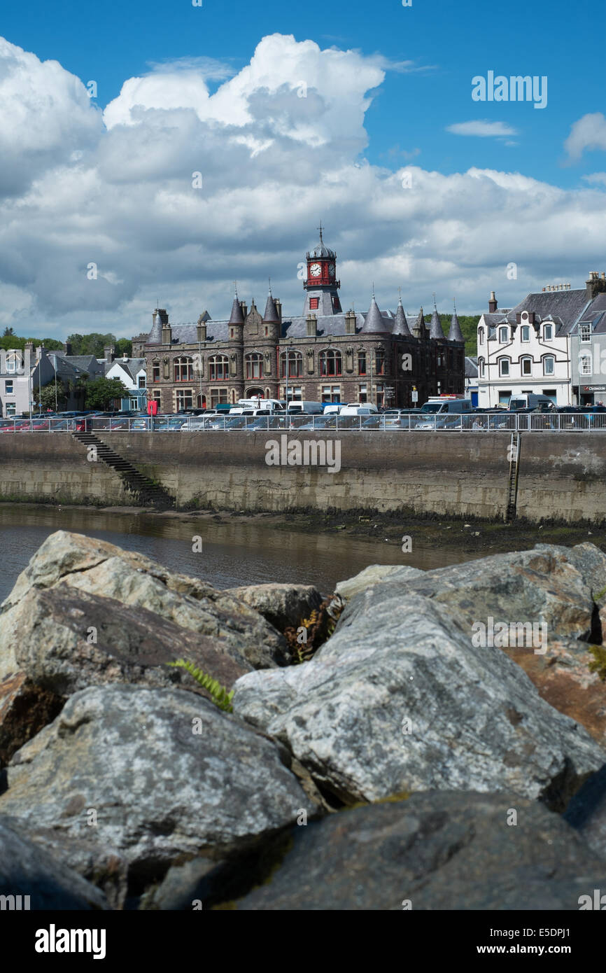 Old Town Hall, Stornoway, Outer Hebrides taken from the harbour - Stock Image