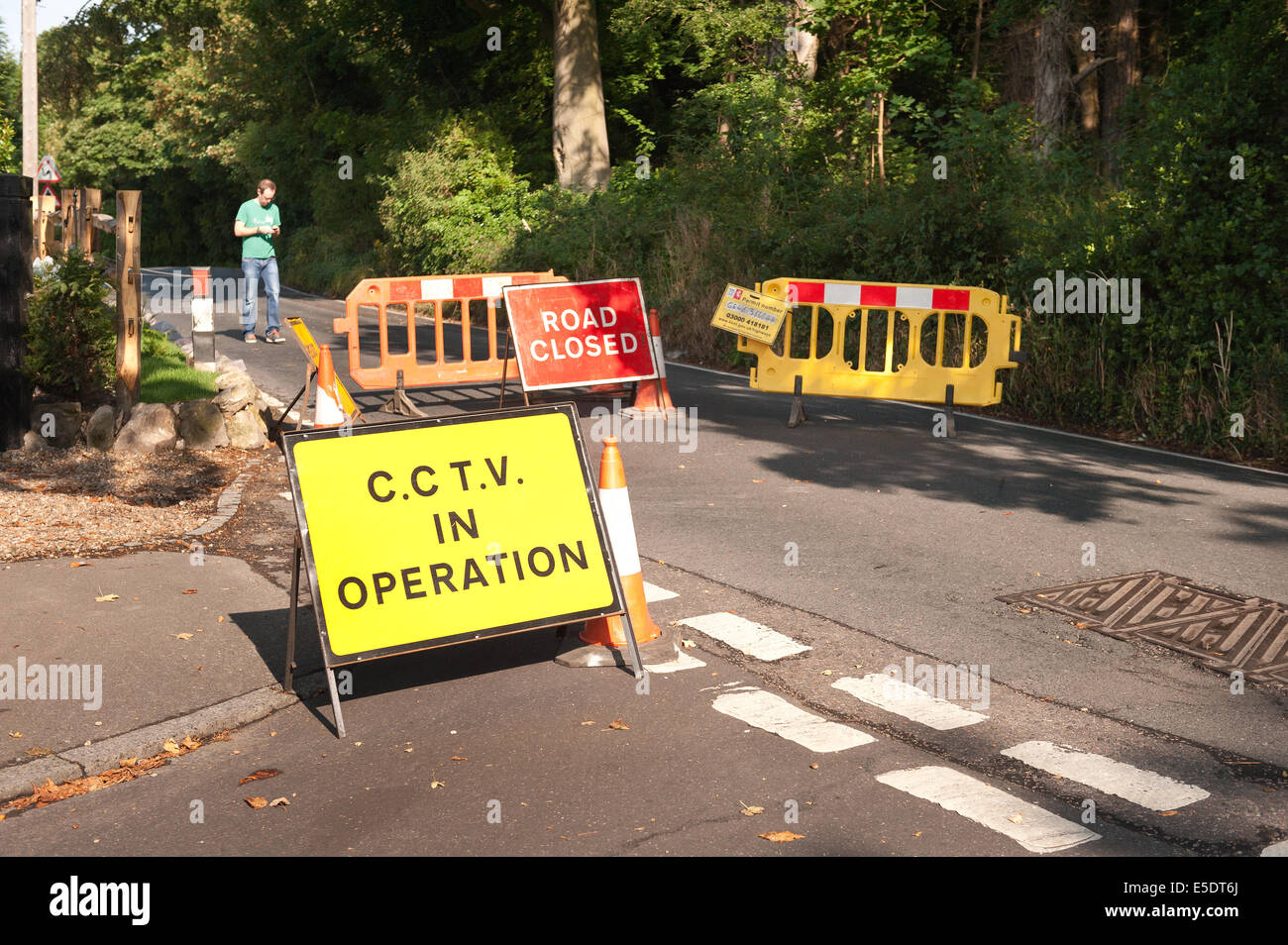 Between Kemsing and Otford in Kent, UK. 29th July, 2014. Road Closure. Novel use of CCTV Traffic enforcement cameras - Stock Image