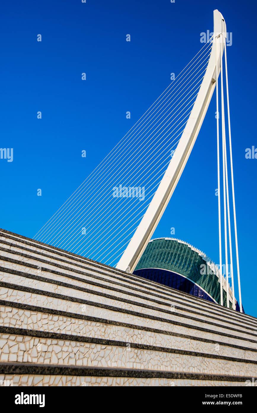 Puente de l'Assut de l'Or bridge, City of Arts and Sciences, Valencia, Comunidad Valenciana, Spain - Stock Image