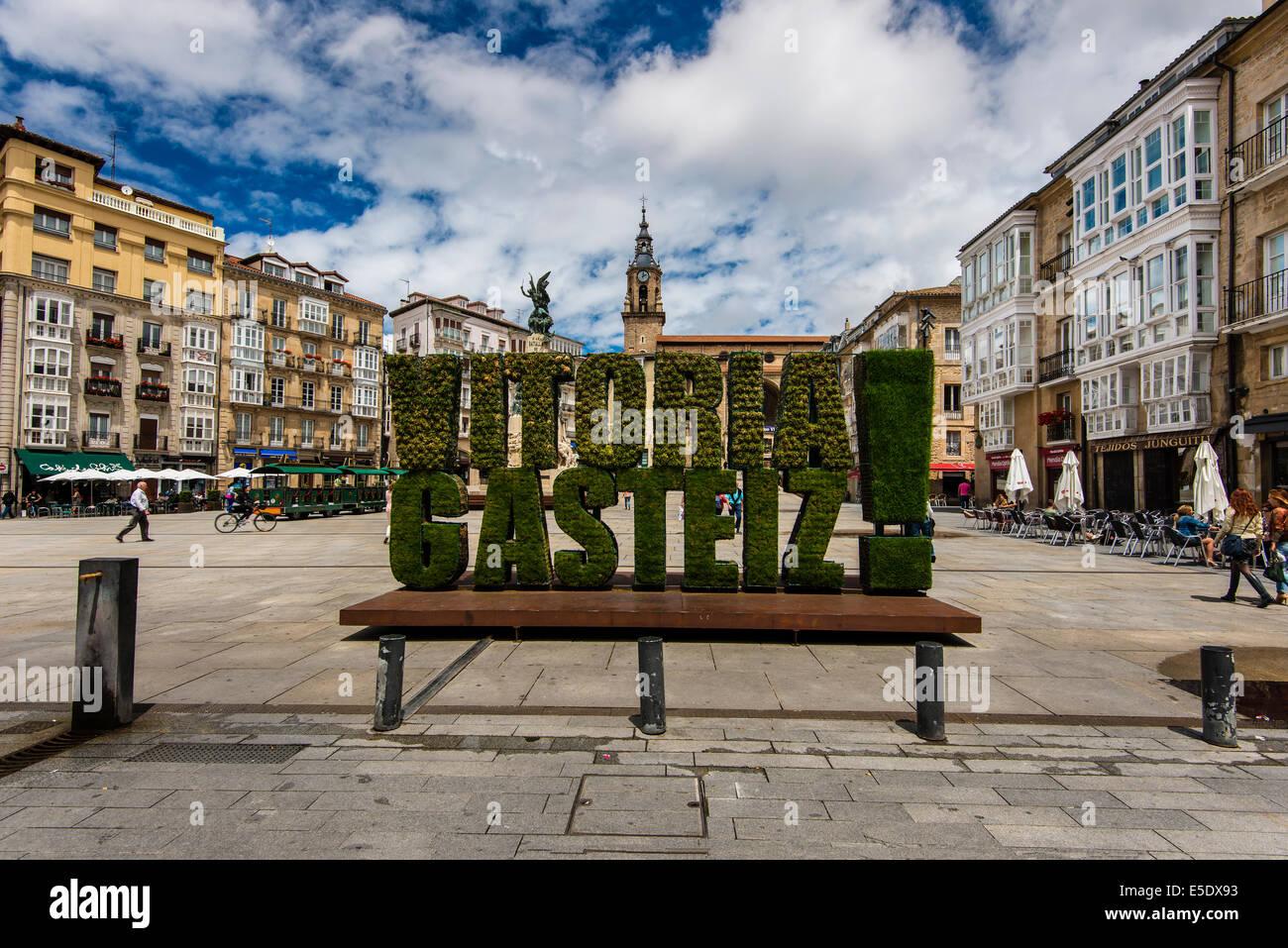 Plaza de la Virgen Blanca, Vitoria-Gasteiz, Alava, Basque Country, Spain - Stock Image