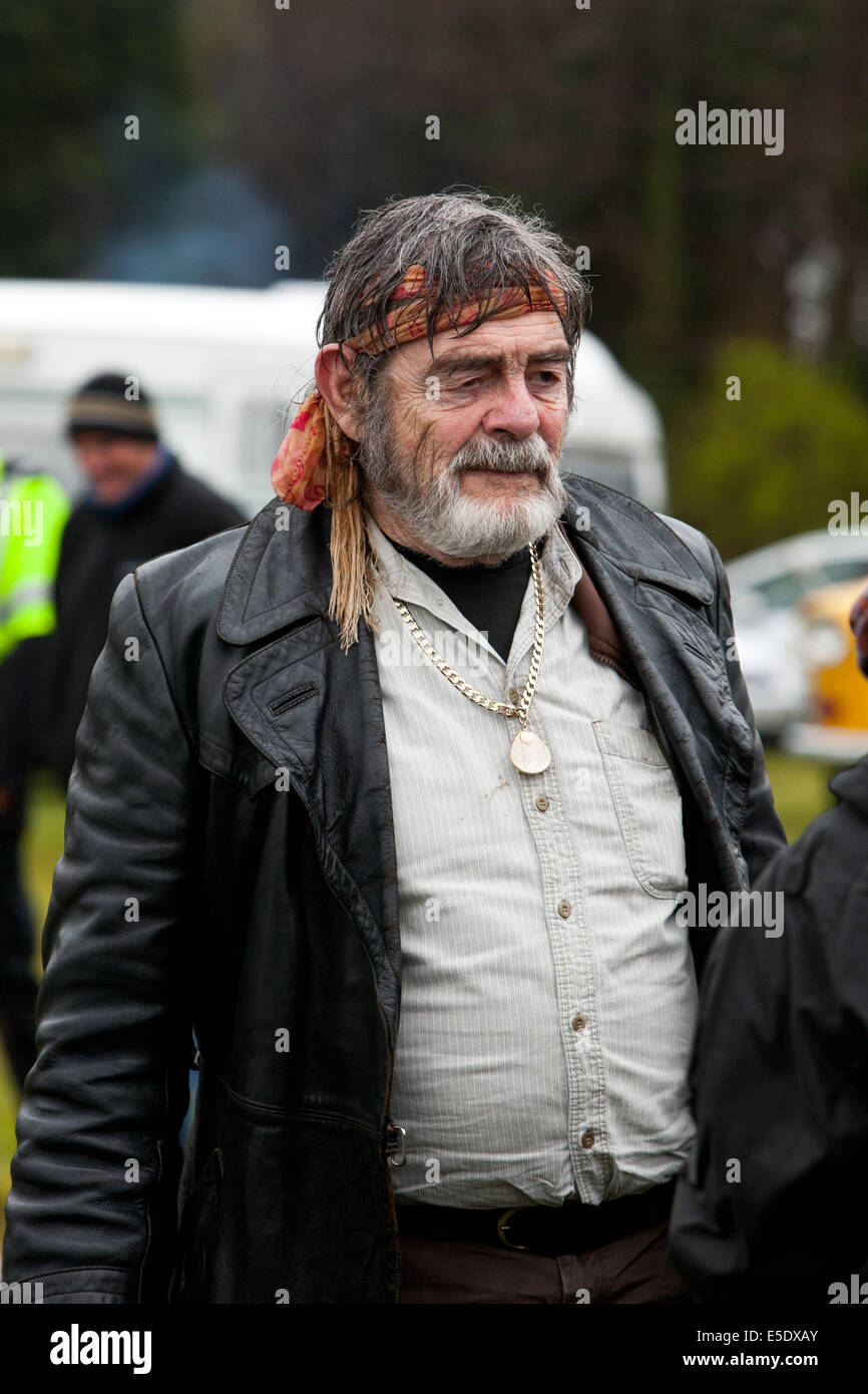 David Bailie Actor on film set of Traveller - Stock Image