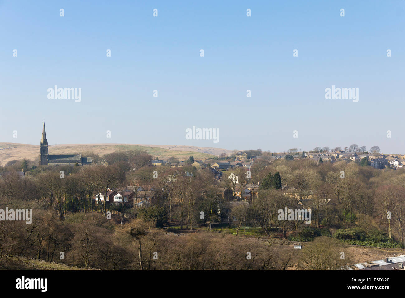 Belmont village in Lancashire, viewed north-north-west from Belmont Road on a day in early spring. - Stock Image