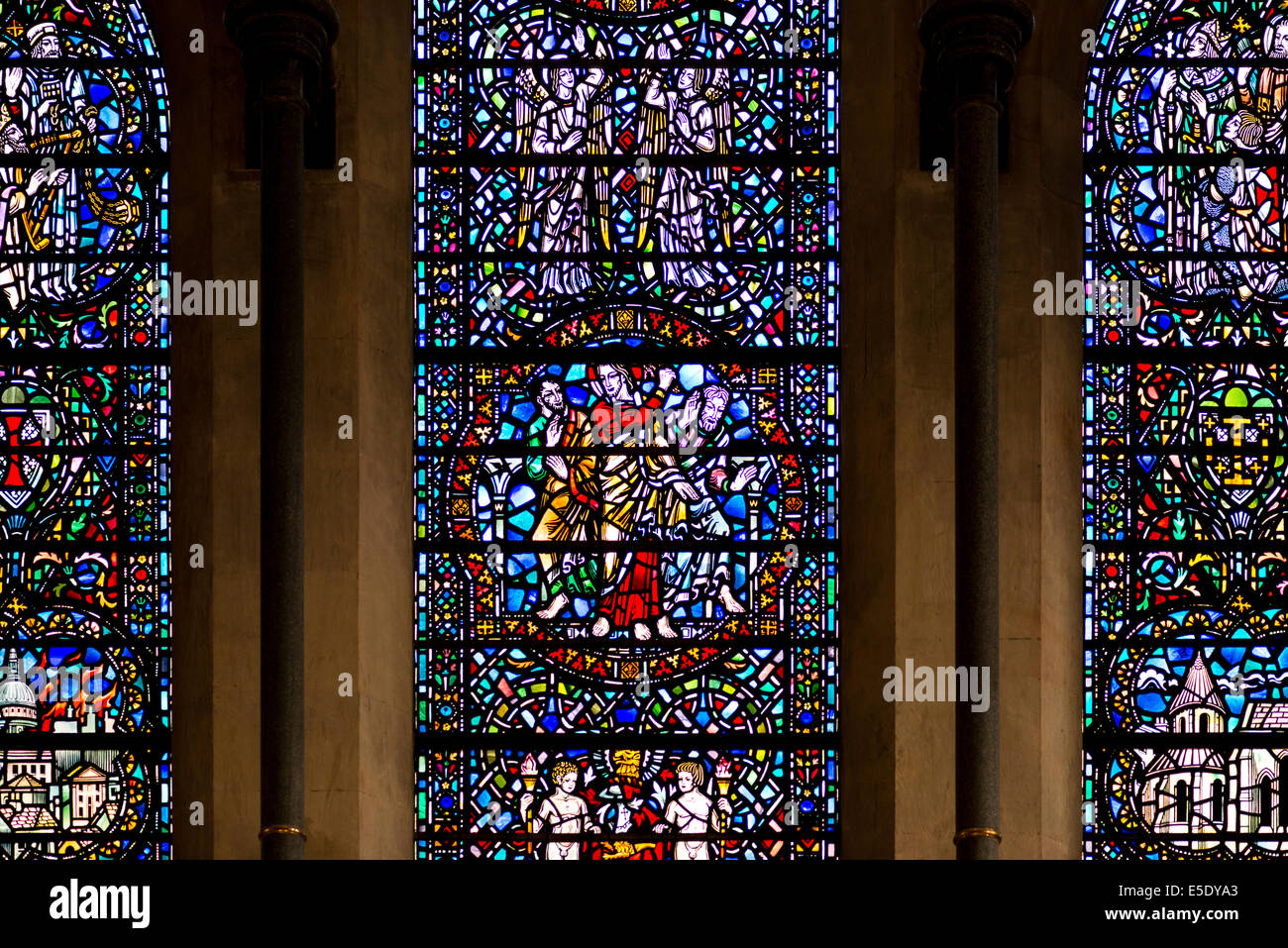 Stained glass windows at Temple Church. The Temple Church is a late 12th Century church in London - Stock Image