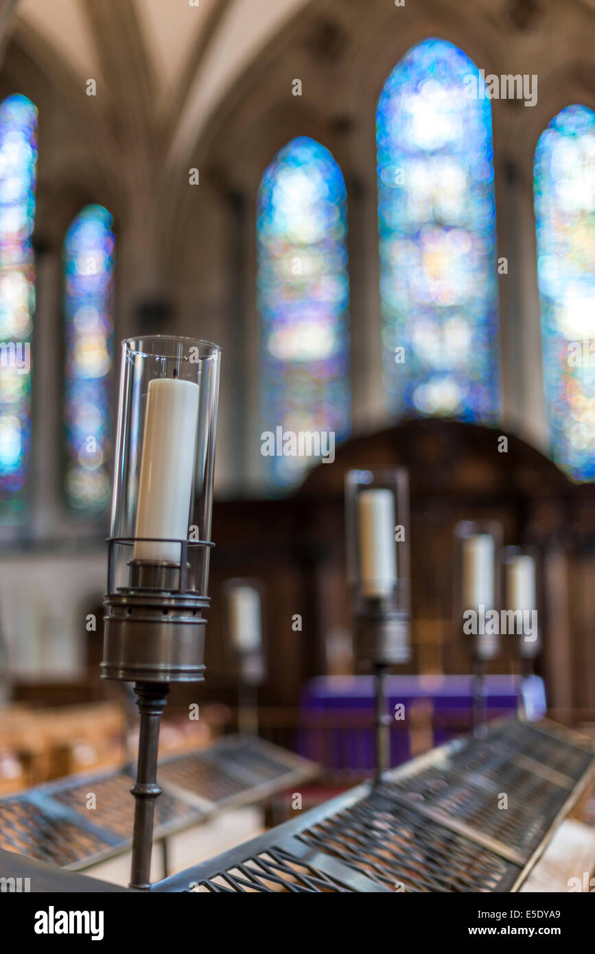 Candles at The Temple Church, a late 12th Century church in London located between Fleet Street and the River Thames - Stock Image