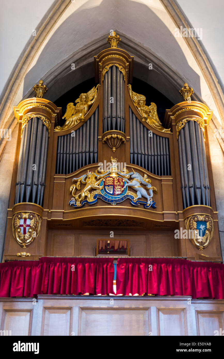 Organ pipes at Temple Church. The Temple Church is a late 12th Century church in London - Stock Image