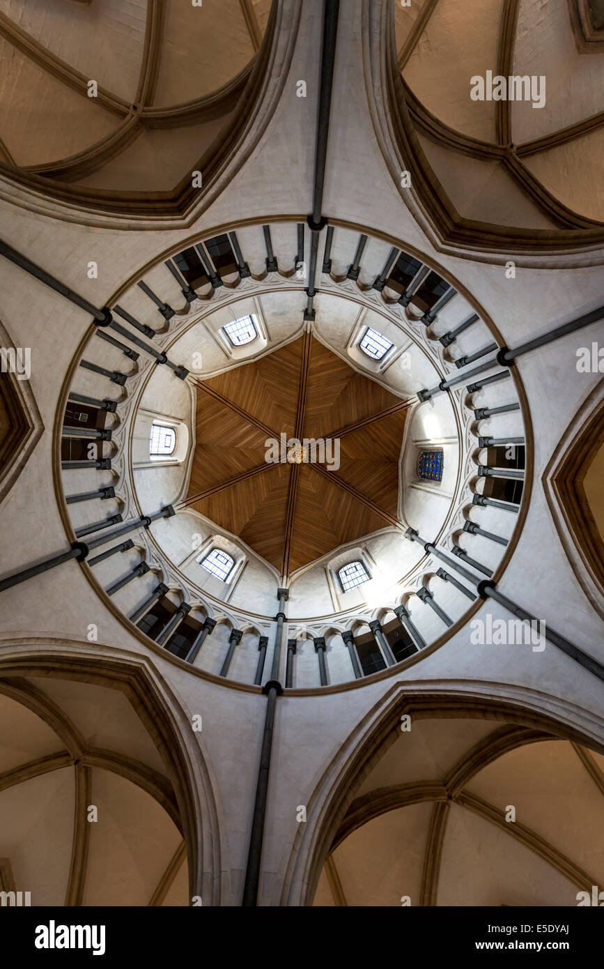 The rare circular nave of Temple Church. The Temple Church is a late 12th Century church in London located between - Stock Image