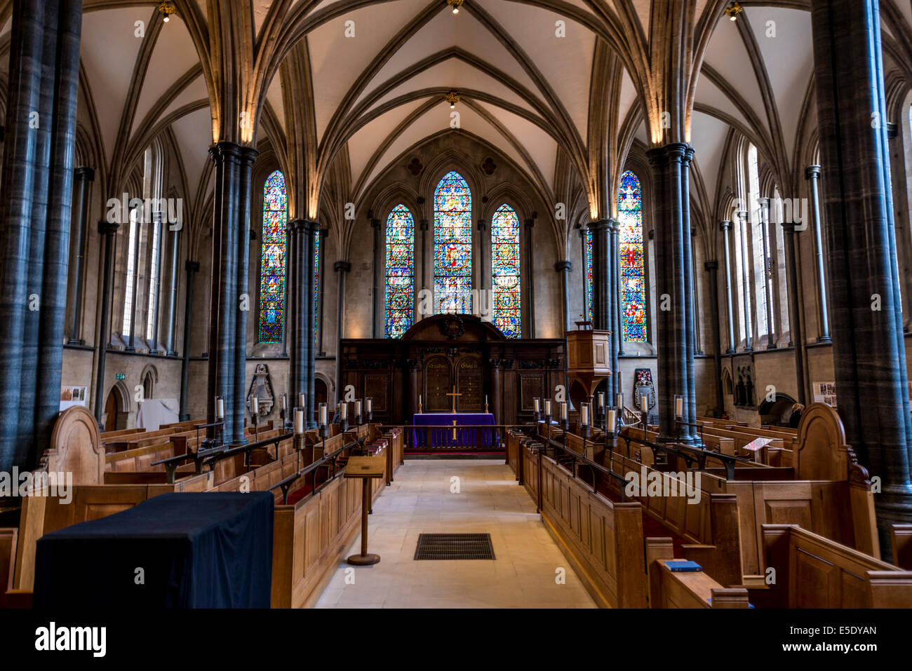 The Temple Church is a late 12th Century church in London located between Fleet Street and the River Thames - Stock Image
