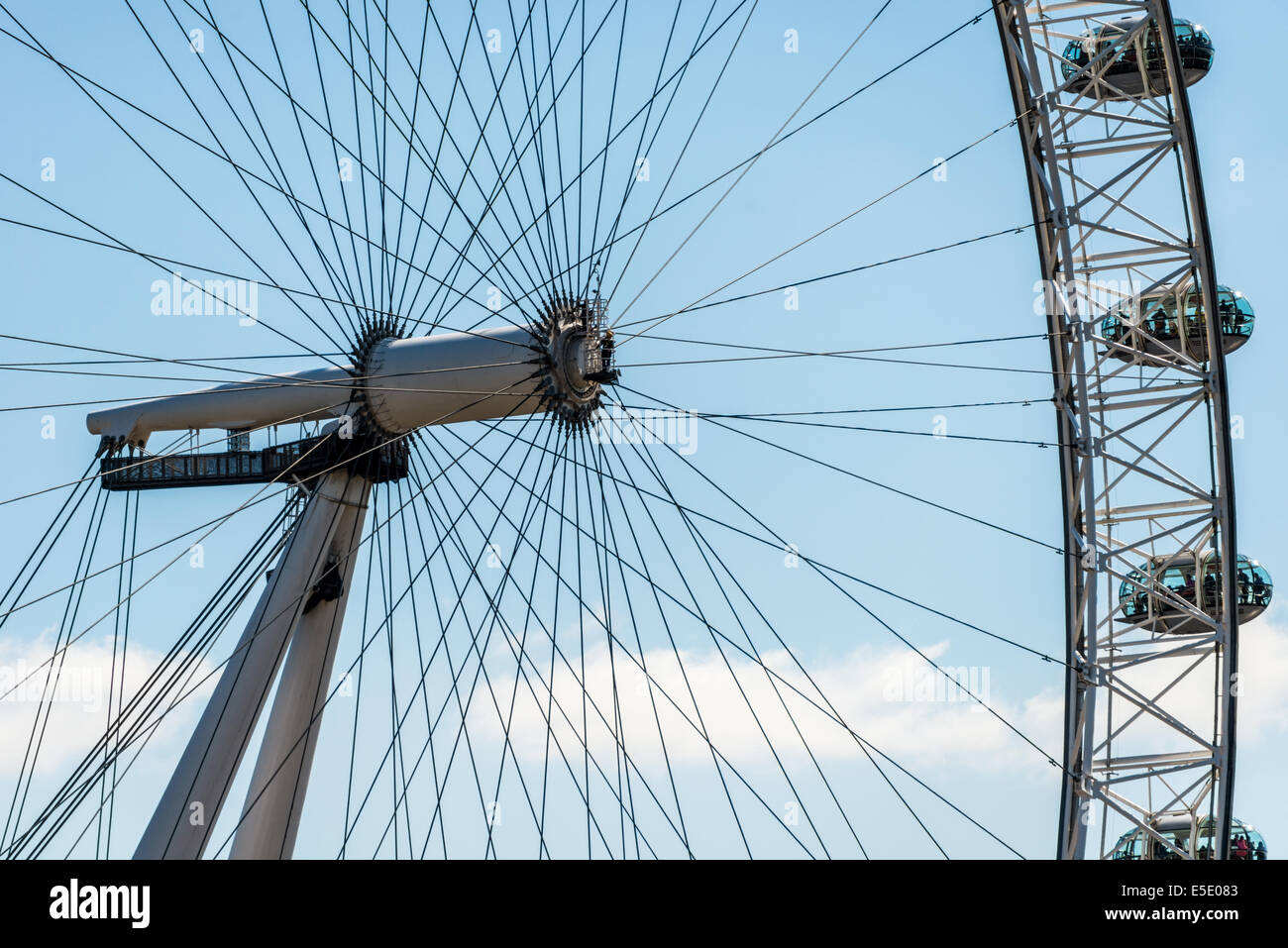The London Eye is a giant Ferris wheel on the South Bank of the River Thames in London and a landmark tourist attraction. - Stock Image