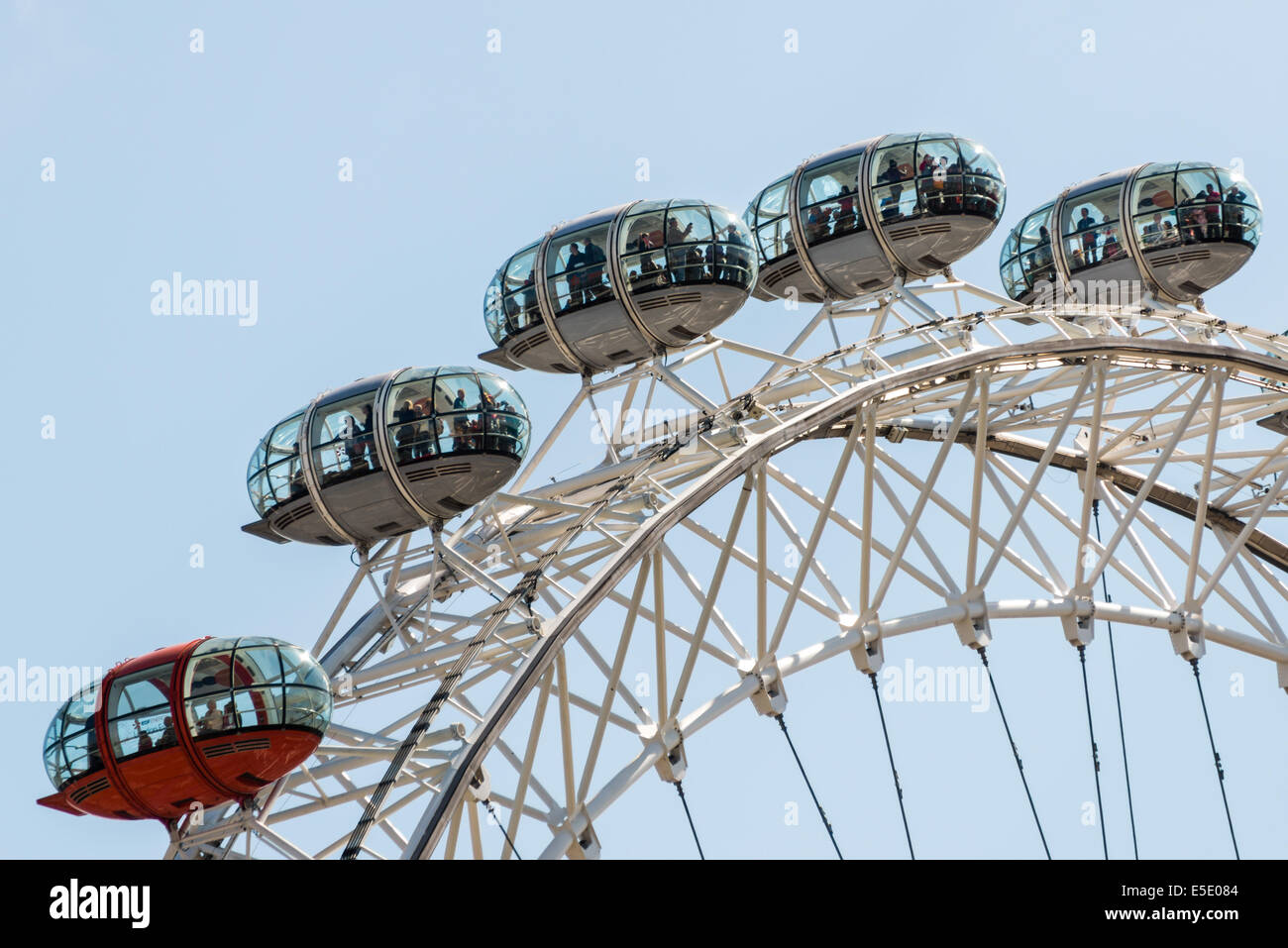 Customer pods on the London Eye, a giant Ferris wheel on the South Bank of the River Thames in London - Stock Image