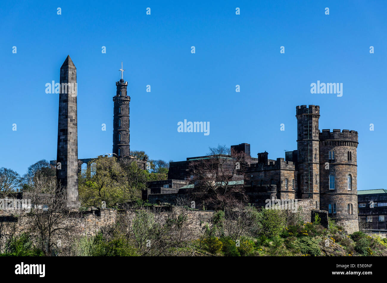 Calton Hill in Edinburgh contains many important monuments including the Dugald Stewart Monument and the Nelson Stock Photo