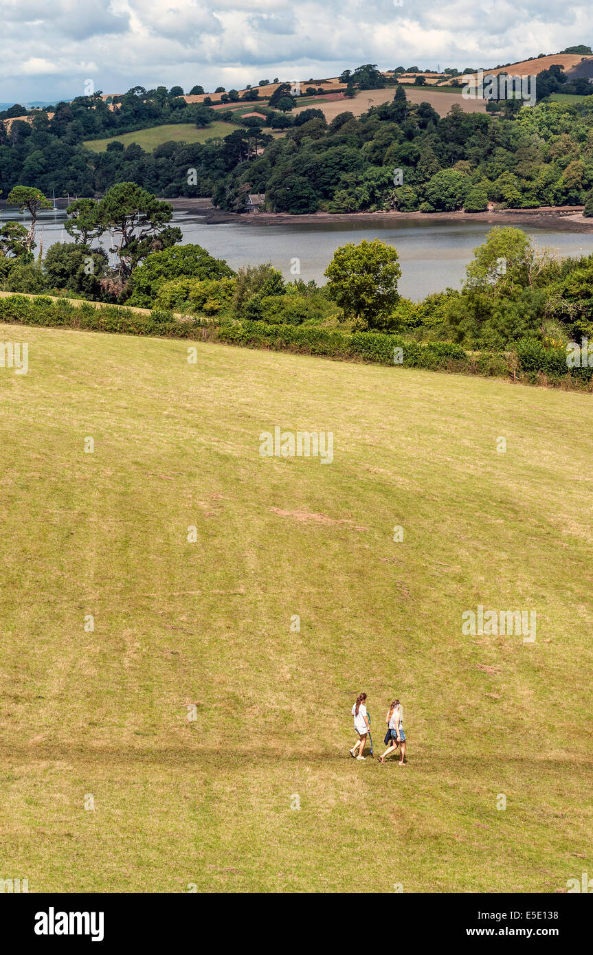 walkers near river Dart,Greenway,Agatha Christie,river Dart,rambling, rights of way,campaigns for access to open - Stock Image
