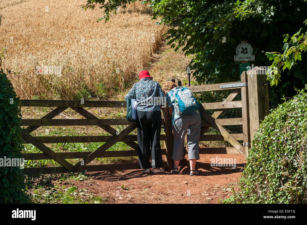 visitors on the way to greenway,Agatha christie,river Dart,rambling, rights of way,campaigns for access to open - Stock Image