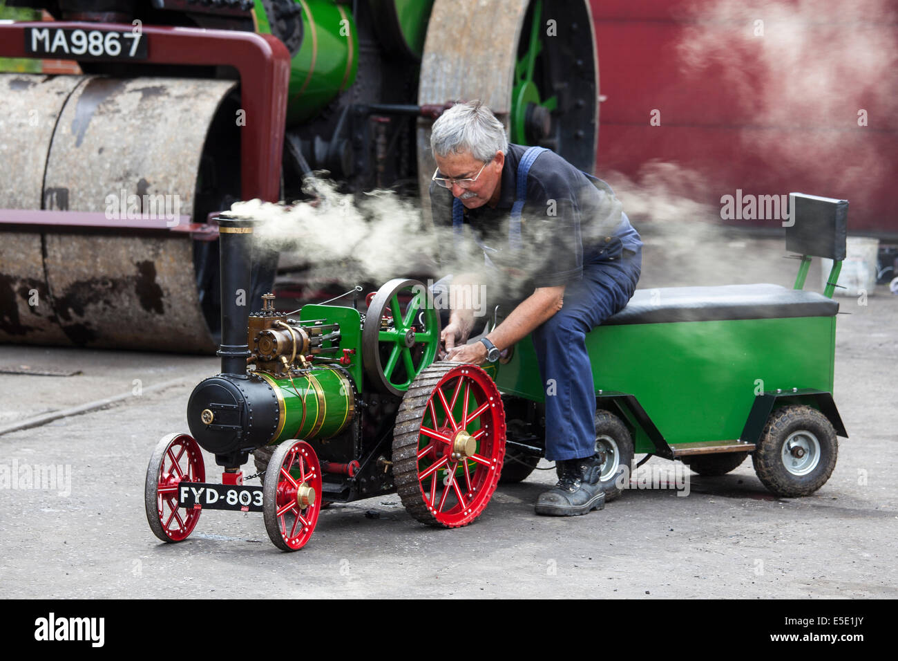 Enthusiast driving replica model steam traction engine - Stock Image