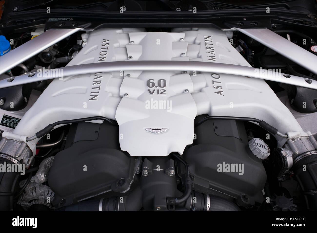 Aston Martin Vantage 6 Litre V12 Engine Stock Photo Alamy