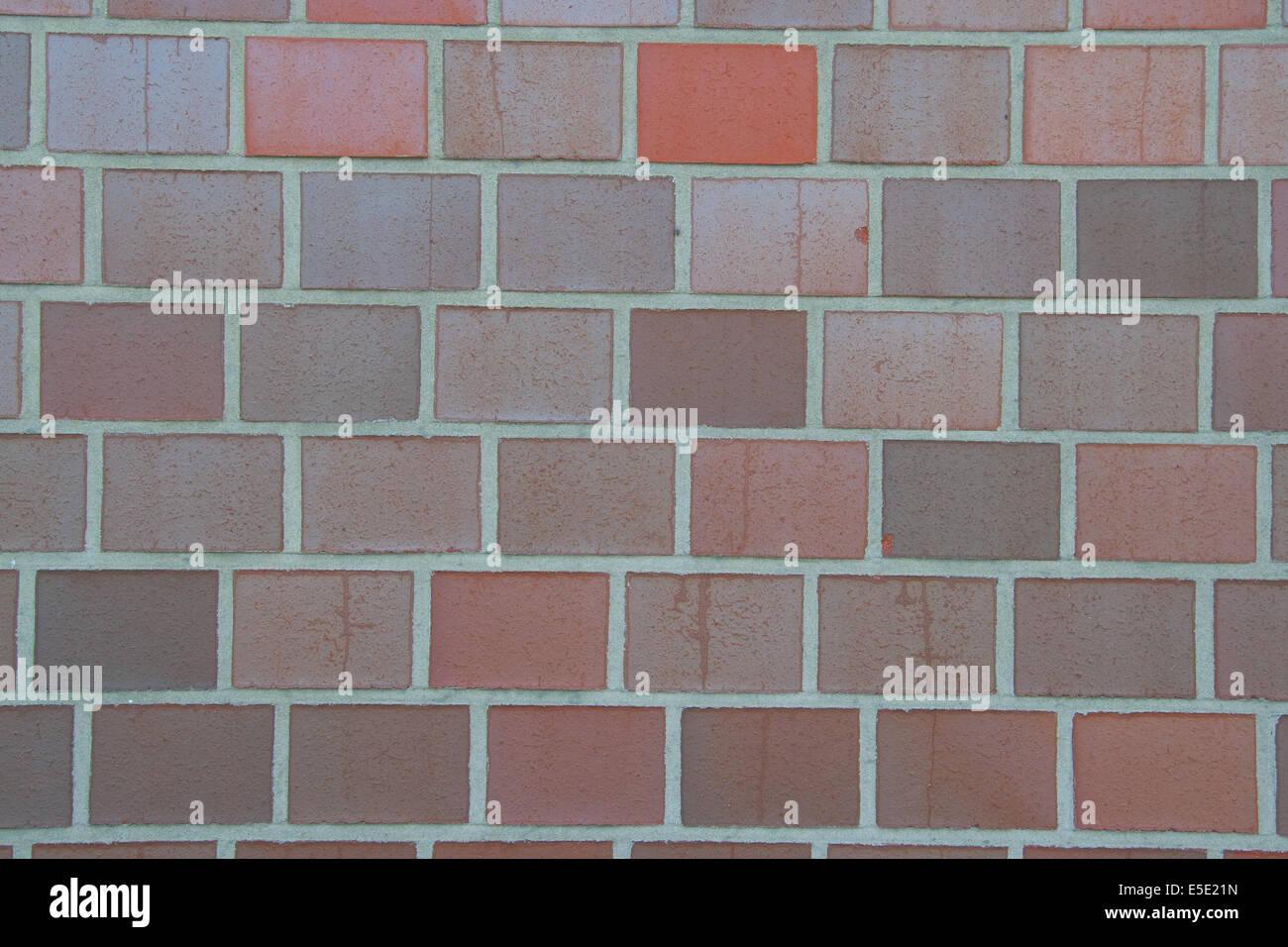 Mauer Mauerwerk Klinker Verklinkert Verklinkerung Steine Stein Blende Backstein fassade Horizontal Konstruktion - Stock Image