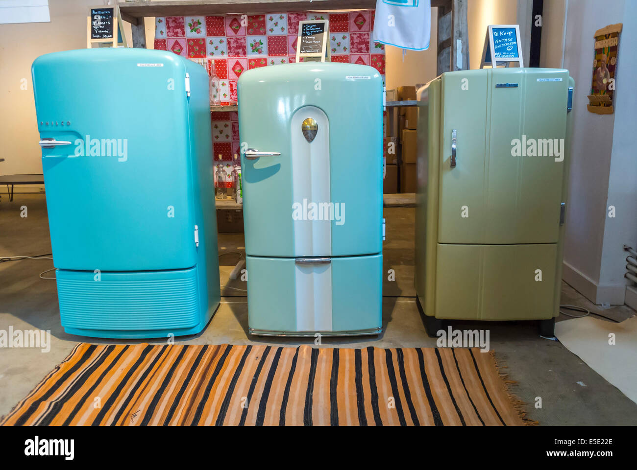 Amsterdam Holland Inside The Netherlands Vintage Refrigerators On Display Hutspot Concept Store