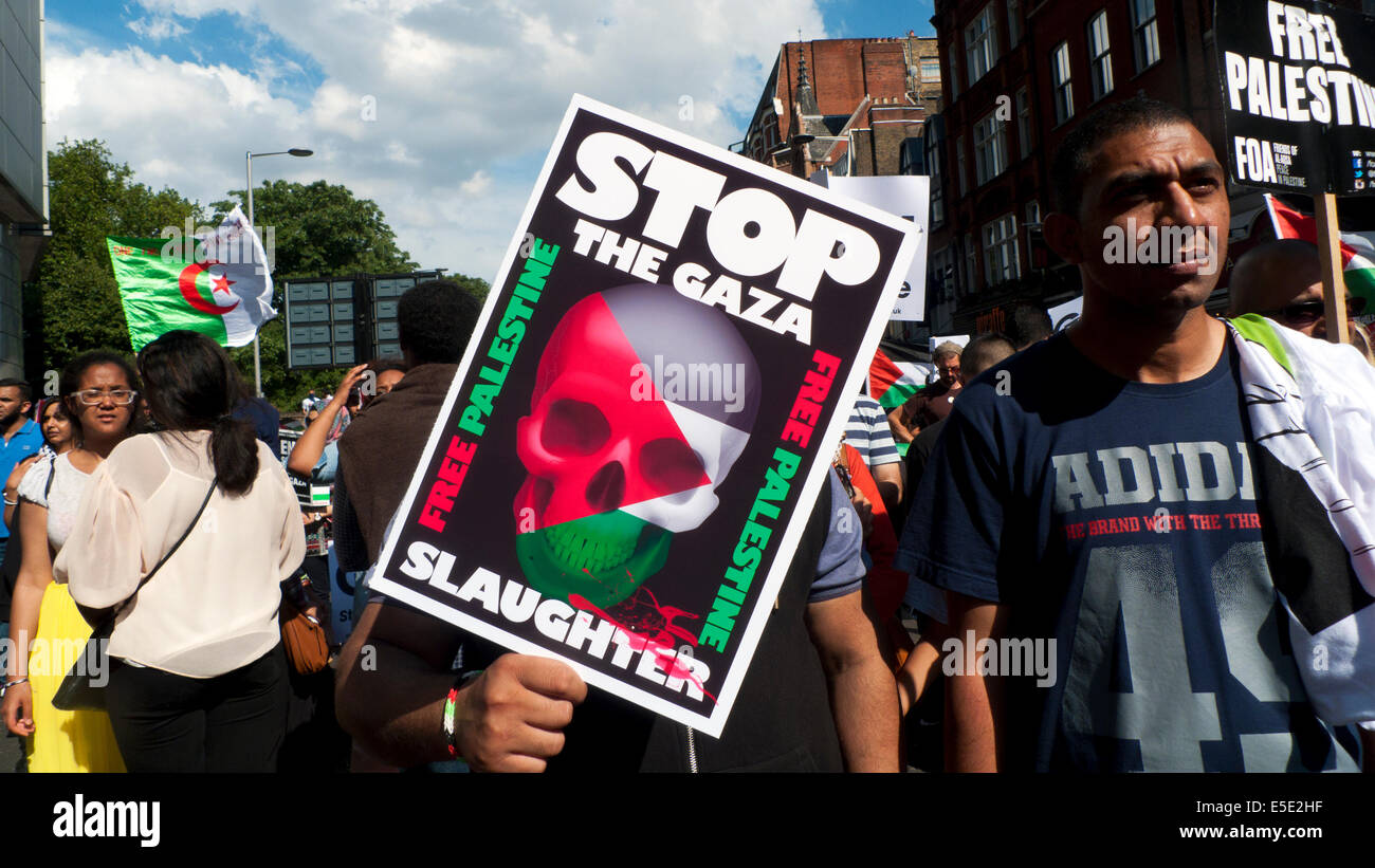 People demonstrating on the streets of London UK against bombing of Gaza Palestinians by Israel  19.7.2014  KATHY - Stock Image