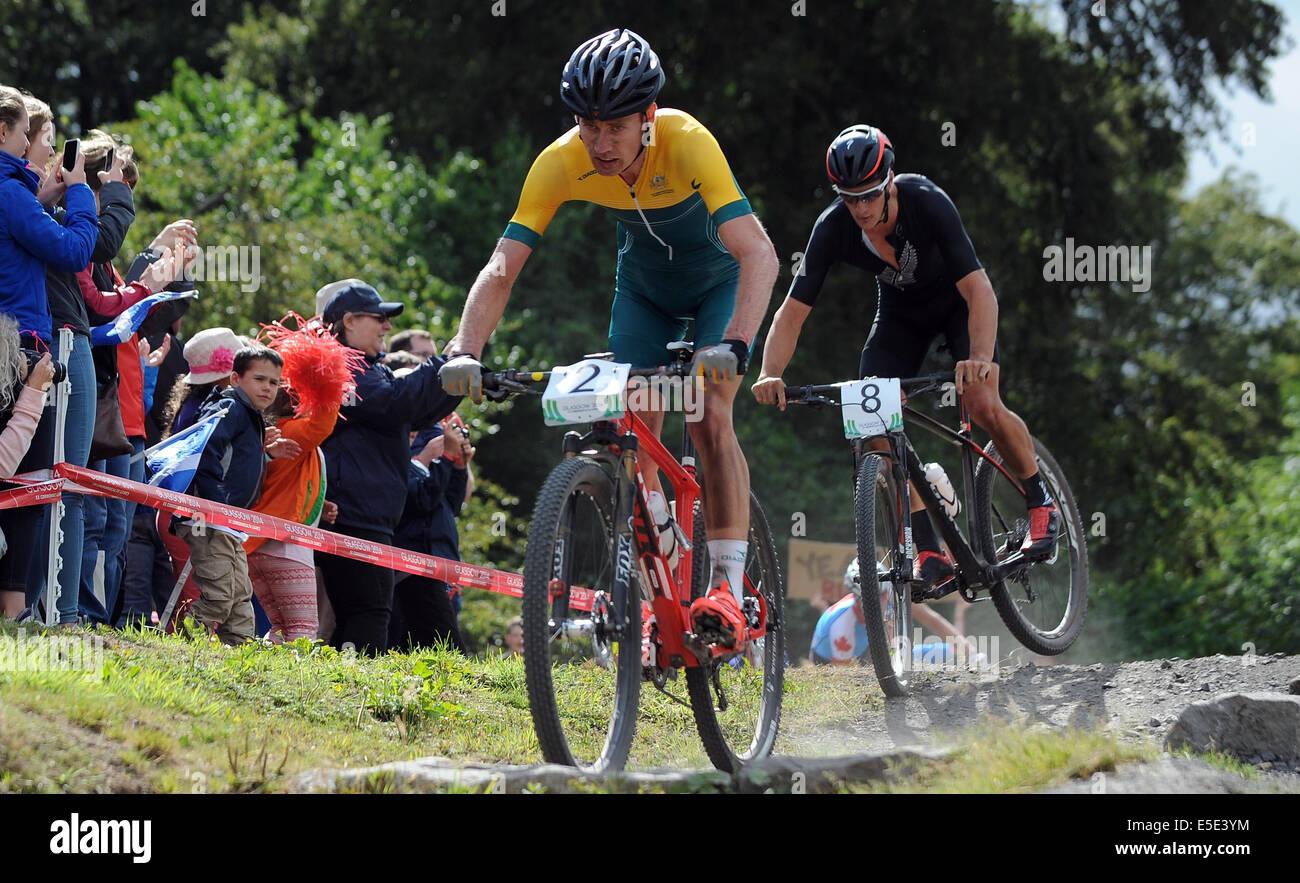 DANIEL MCCONNELL & SAMUEL GAZE CYCLING MEN'S MOUNTAIN BIKE CATHKIN BRAES GLASGOW SCOTLAND 29 July 2014 - Stock Image