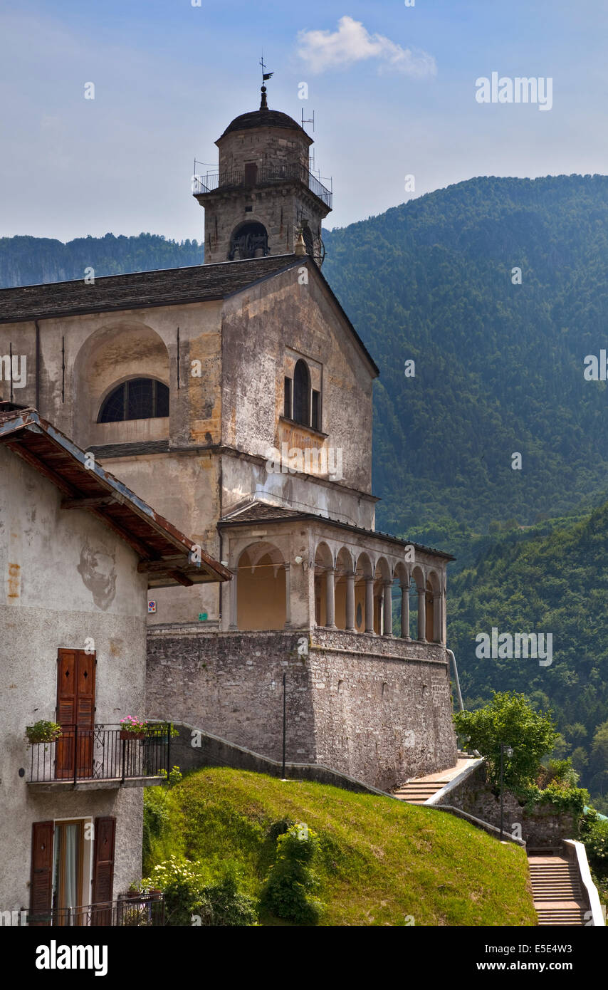 Bagolino Cathedral, Bagolino, Italy - Stock Image