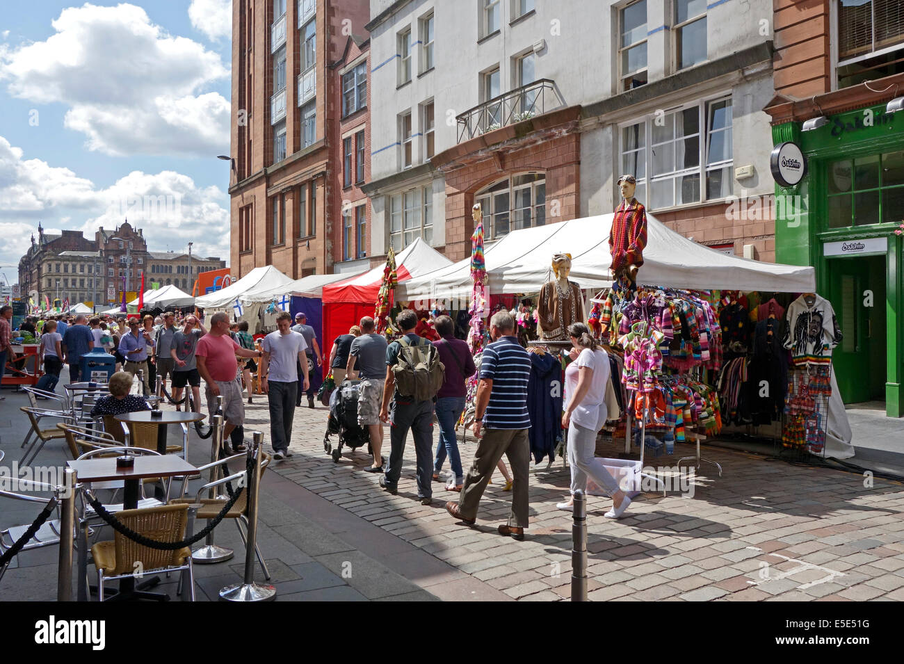 International market in Candleriggs in  the Merchant City Glasgow Scotland with stalls and restaurants - Stock Image