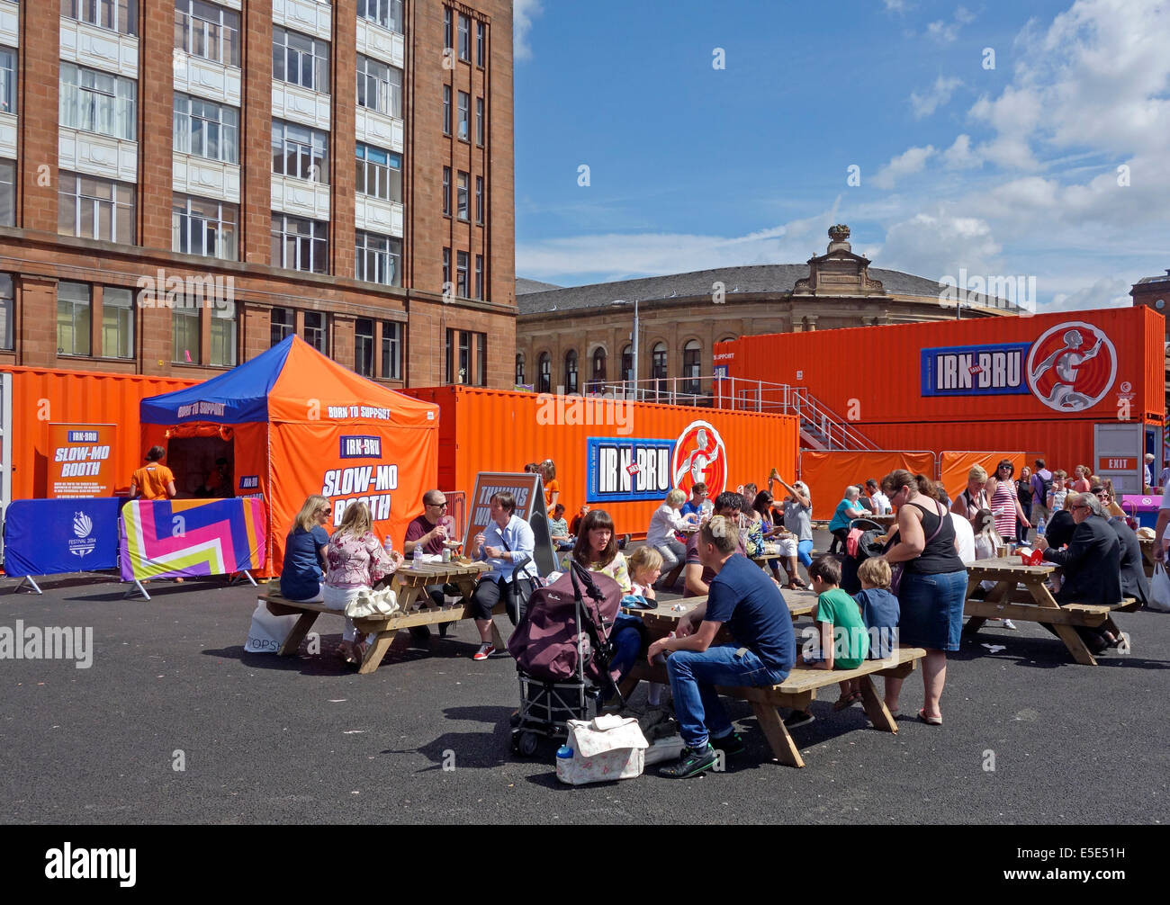 International market by Wilson Street the Merchant City Glasgow Scotland with Barr Irn Bru shop complex - Stock Image