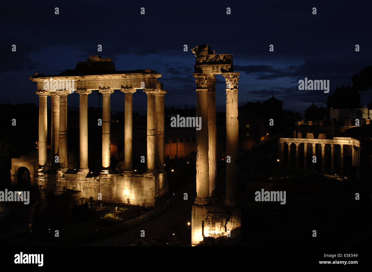 Italy. Rome. Roman Forum. Temple of Saturn, 5th century BC, reconstructed in the 3rd century, and Temple of Concord. - Stock Image
