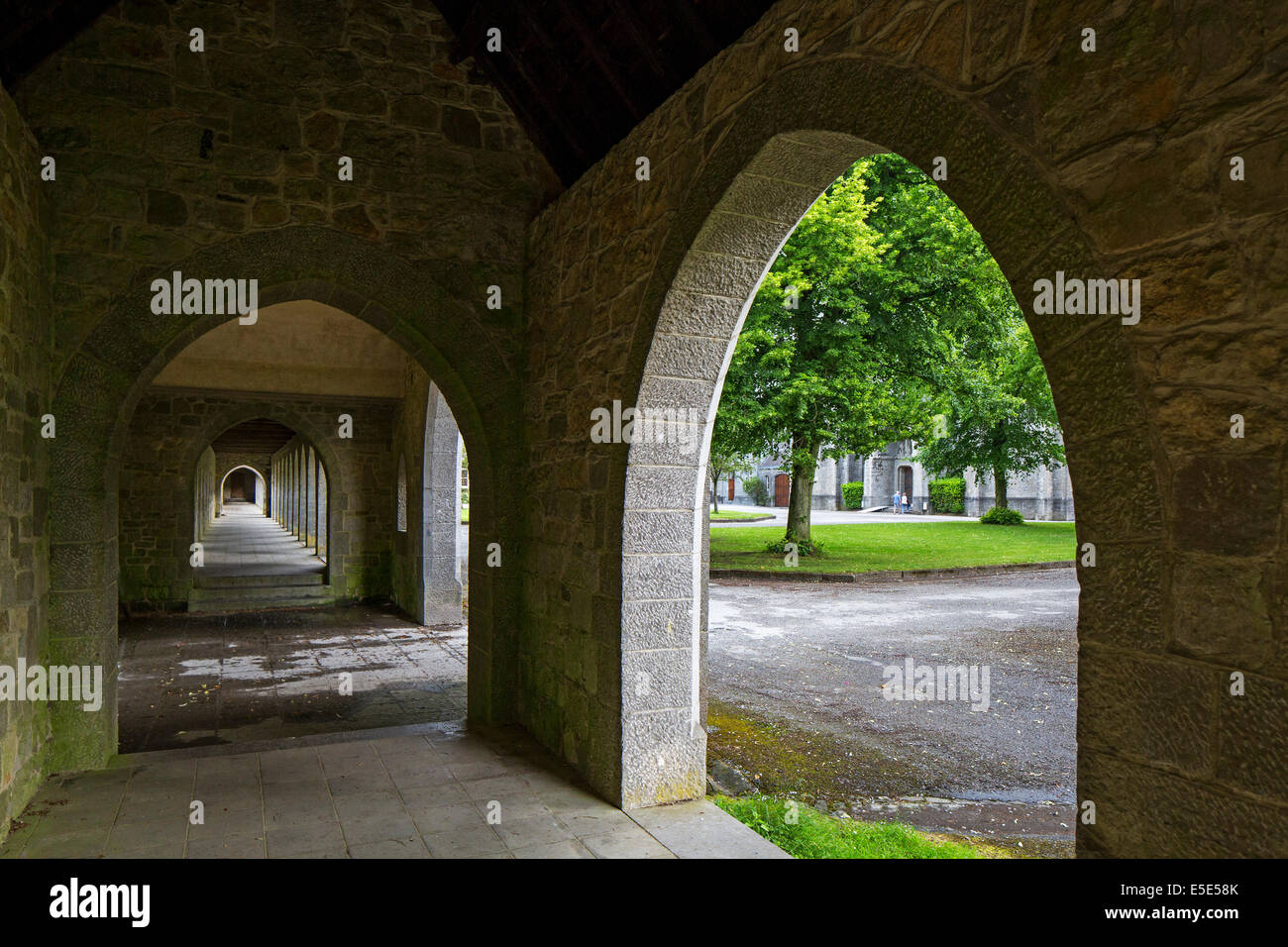 Cloister of the Maredsous Abbey, a Benedictine monastery at Denée, Belgium - Stock Image