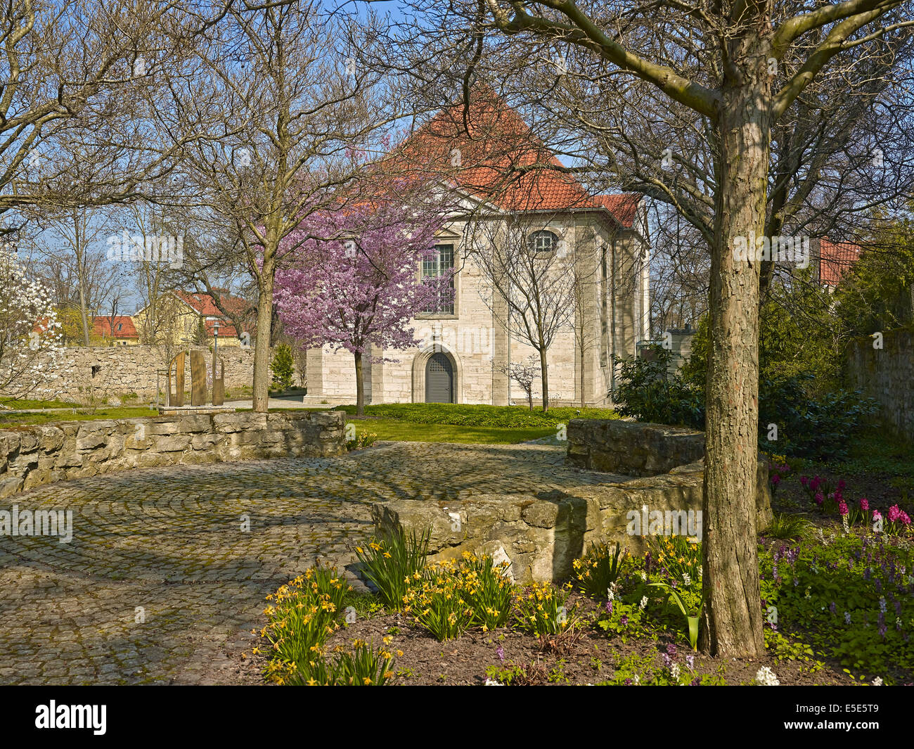 Arboretum with Trinity Church in Bad Langensalza, Germany - Stock Image