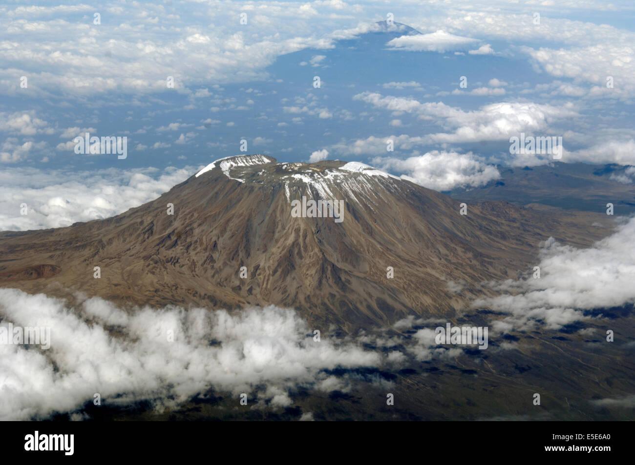 Aerial view of Mount Kilimanjaro Kenya/Tanzania, Africa. - Stock Image