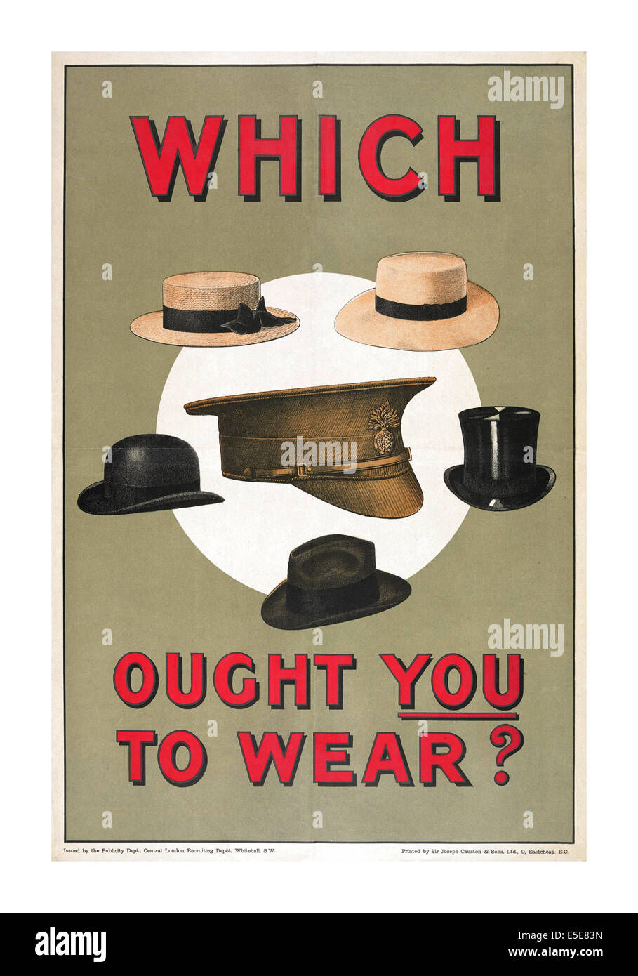 """WW1 Recruitment propaganda poster in 1914 UK  '""""Which ought you to wear""""? Stock Photo"""