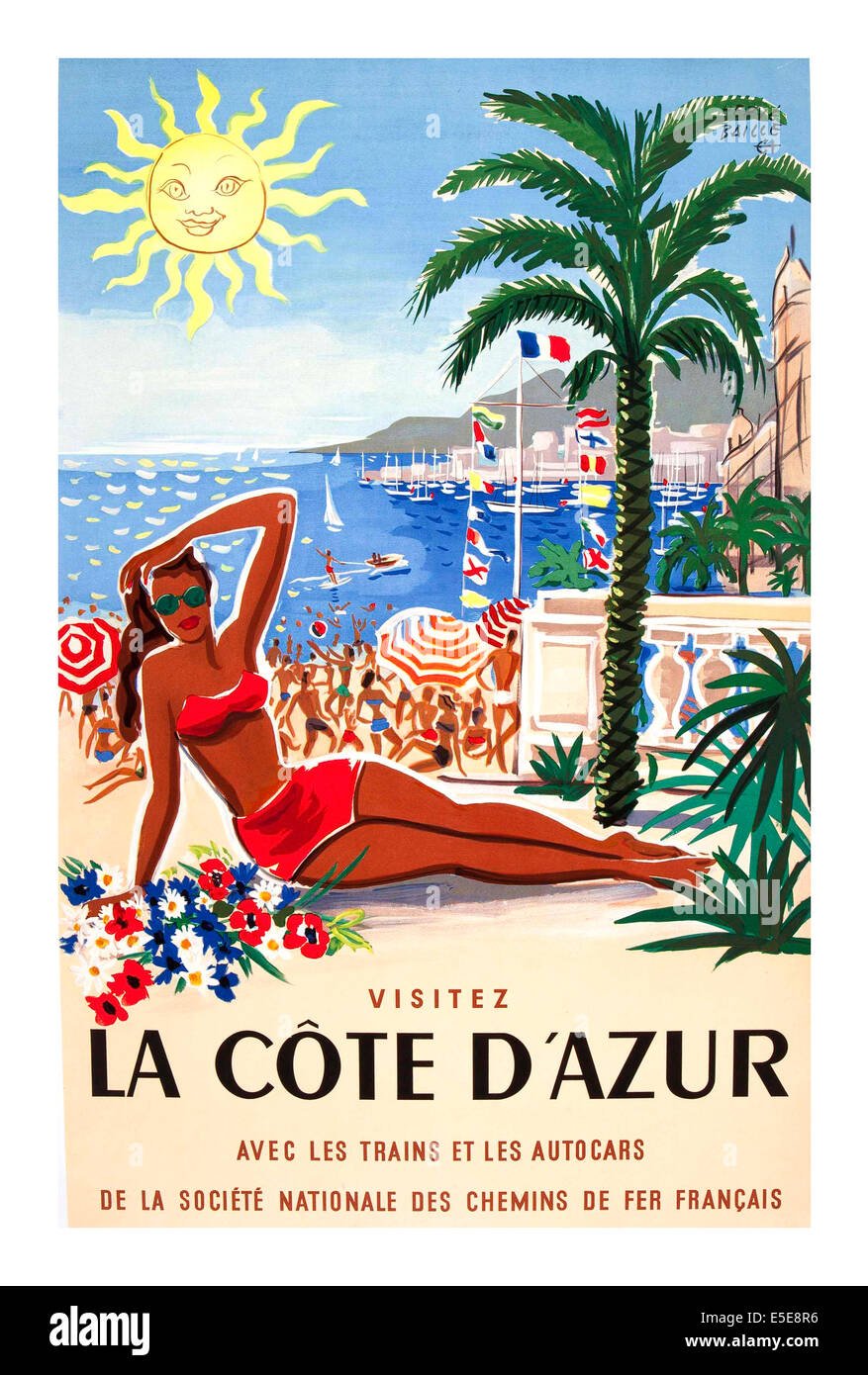 vintage poster cote d 39 azur pullman express french railway travel stock photo 72229002 alamy. Black Bedroom Furniture Sets. Home Design Ideas