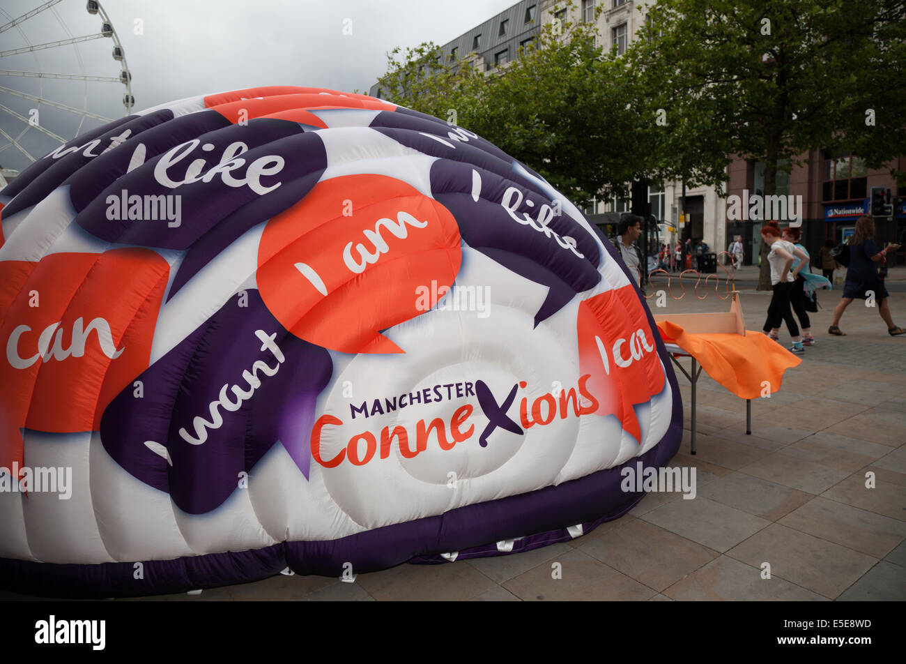 Connexions branded logo marketing campaign using domed Inflatable in temporary structures in Manchester City Centre. - Stock Image