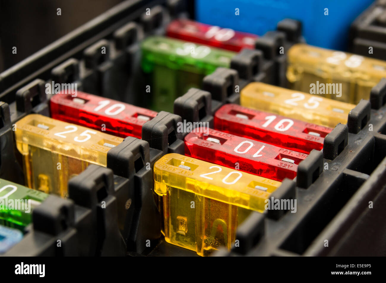 Close up on a car fuse box - Stock Image