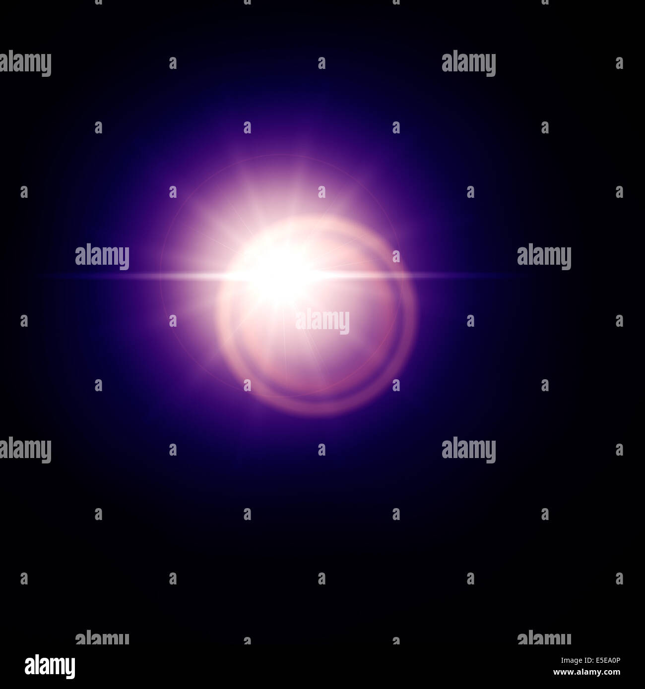 Blue lens flare effect, sun light flare isolated on black background. Can be added to photos by overlaying in screen - Stock Image