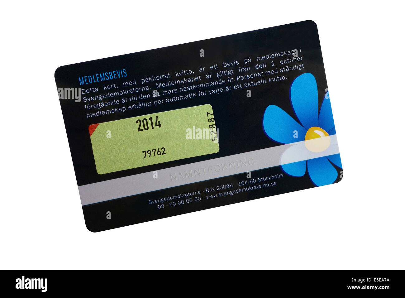 The Sweden Democrats or Swedish Democrats political party membership card back side. (name digitally removed) - Stock Image