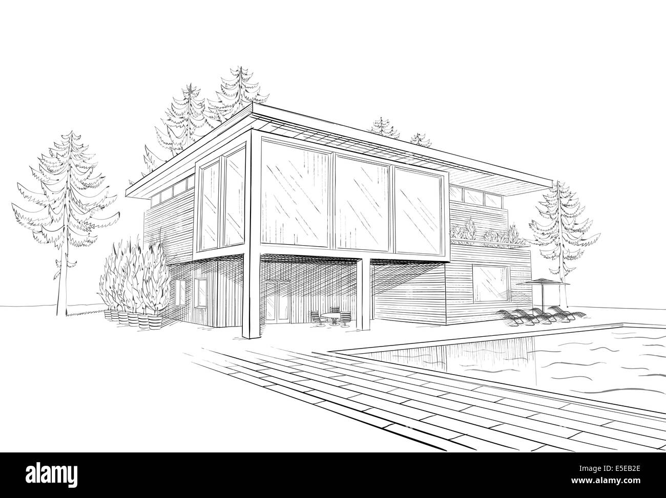 Black And White Sketch Of Modern Suburban Wooden House With Swimming Pool  And Chaise Lounges