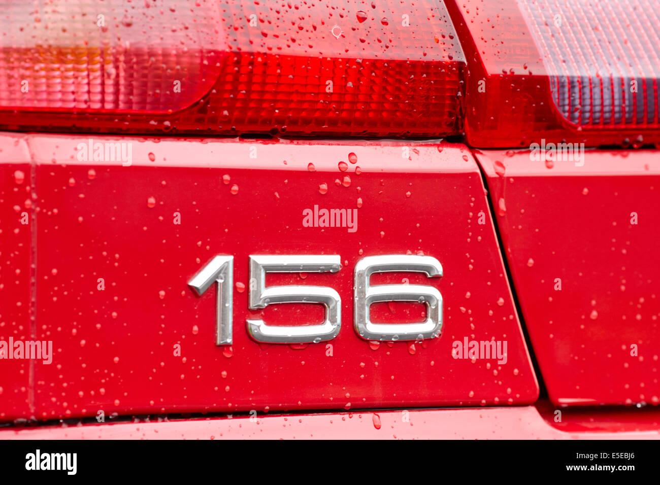 Alfa Romeo 156 logo beading with wax treatment - Stock Image