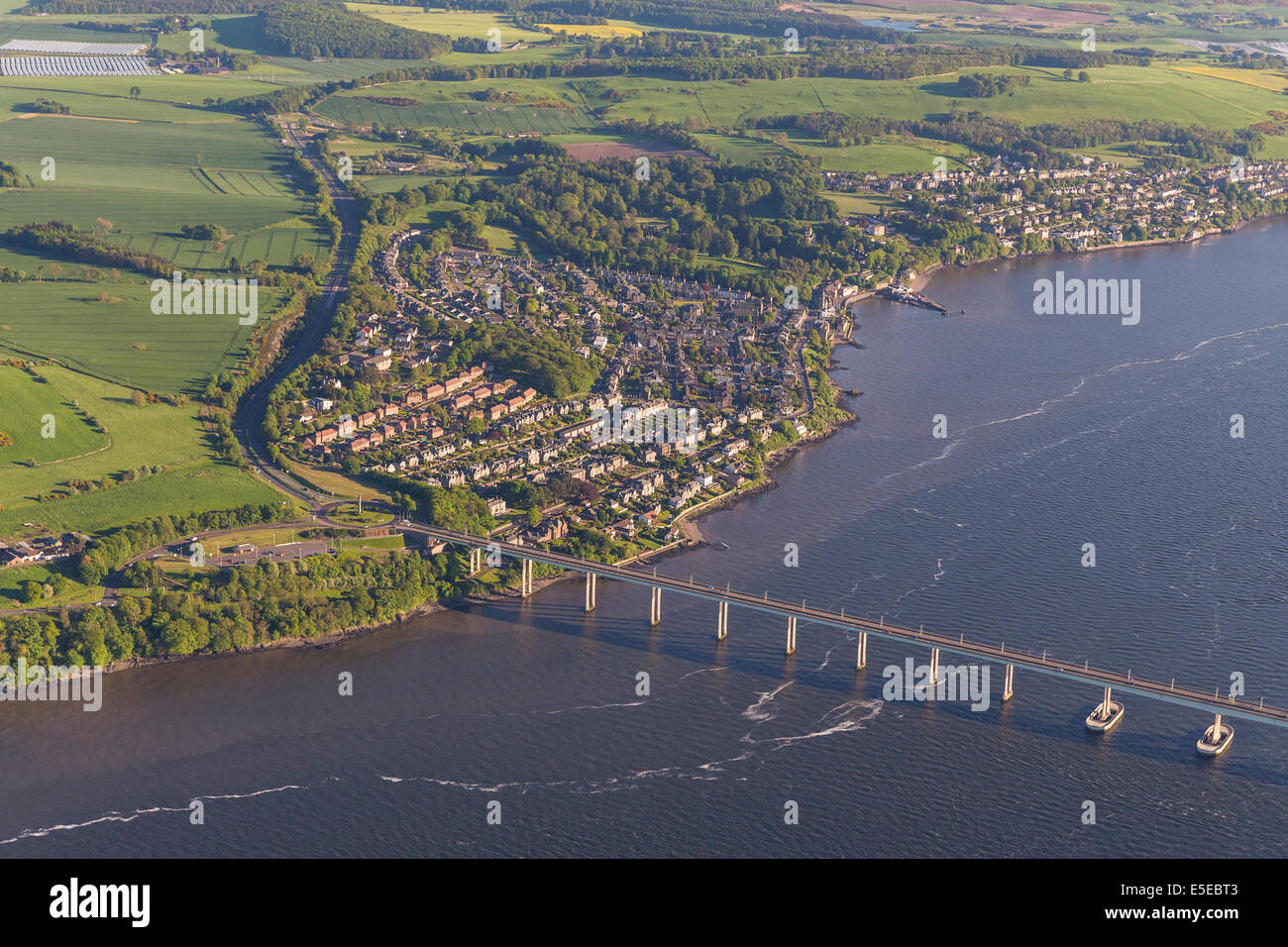 Aerial view over Dundee, Scotland with the River Tay and Road and Rail Bridges visible - Stock Image