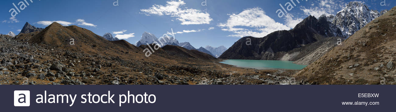 Panoramic photo of the second sacred lake in the Gokyo Valley with towering Himalayas all around. Solukhumbu, Nepal. - Stock Image