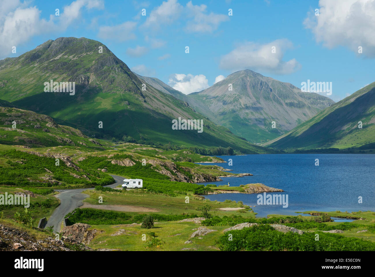 Motorhome parked next to Wastwater, Wasdale, Lake District National Park, Cumbria, England UK - Stock Image