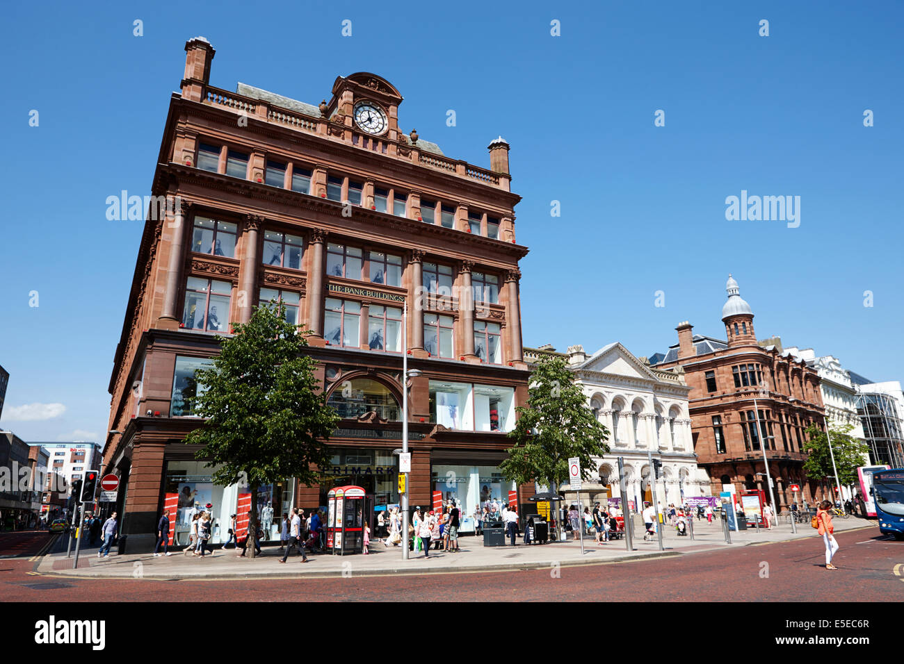 bank buildings in castle junction castle street and royal avenue Belfast city centre - Stock Image