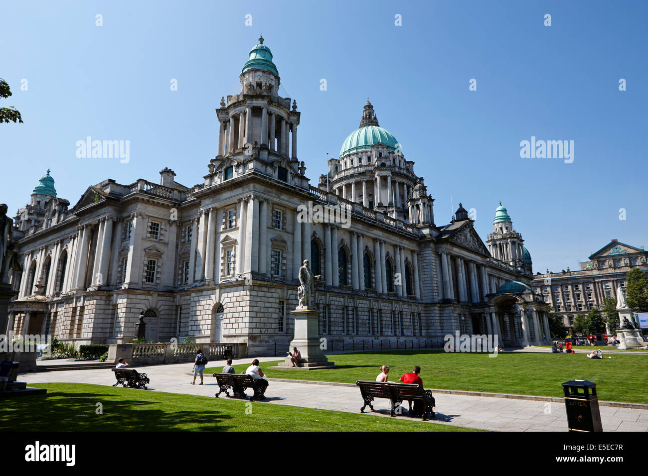Belfast city hall on a summers day in city centre - Stock Image